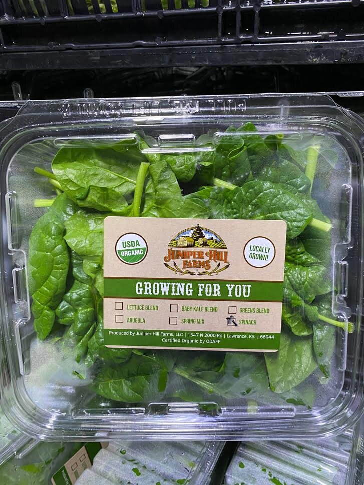 organic spinach clamshell local